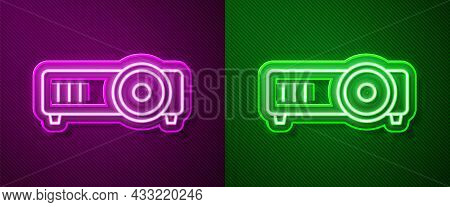 Glowing Neon Line Presentation, Movie, Film, Media Projector Icon Isolated On Purple And Green Backg