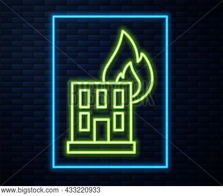 Glowing Neon Line Fire In Burning Building On City Street Icon Isolated On Brick Wall Background. De