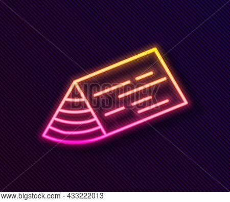 Glowing Neon Line Wooden Beam Icon Isolated On Black Background. Lumber Beam Plank. Vector