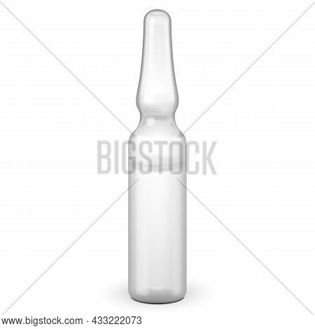 Medical White Gray Glass Ampoule, Isolated On White Background. Mock Up Template Ready For Your Desi