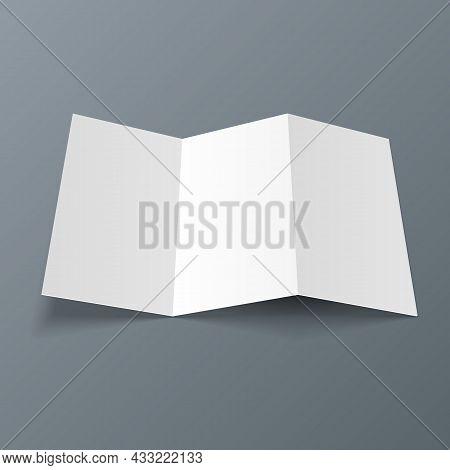 Blank Four Folded Fold Paper Leaflet, Flyer, Broadsheet, Flier, Follicle, Leaf A4 With Shadows. On G