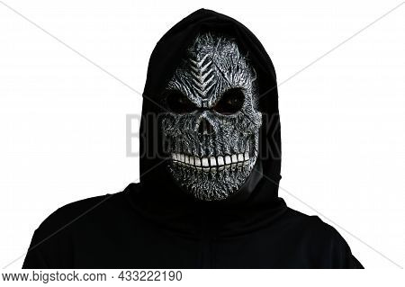 Halloween Holiday Concept. Isolated Death Carnival Costume. Scary Death Portrait. Death Mask On Whit