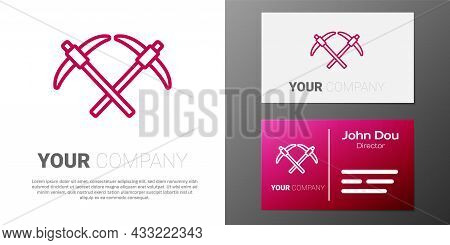 Logotype Line Pickaxe Icon Isolated On White Background. Logo Design Template Element. Vector
