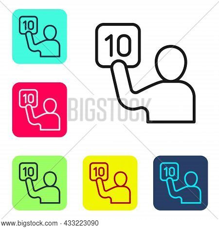 Black Line Assessment Of Judges Icon Isolated On White Background. Set Icons In Color Square Buttons