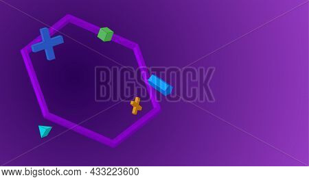 Abstract 3d Figures On A Purple Background. Vector Illustration With Copyspace.