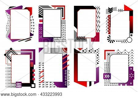 Modern Editable Vector Fames Collection For Your Text And Images. Collection Of Frames In Red Purple