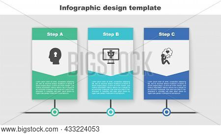Set Solution To The Problem, Psychologist Online And Head With Heart. Business Infographic Template.