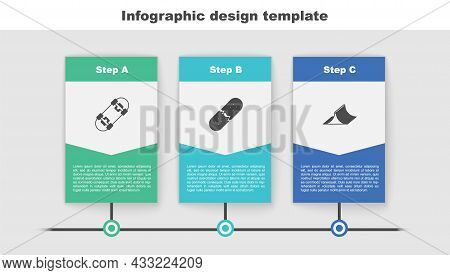 Set Skateboard, Broken Skateboard Deck And Park. Business Infographic Template. Vector