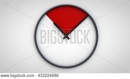 3d Illustration, 3d Rendering, Of Minimal Clock 10 O Clock Black And White 3d Rendering