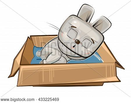 The Hare Sleeps In A Cardboard Box. A Pet As A Gift Or A Homeless Person. Childrens Illustration. Th