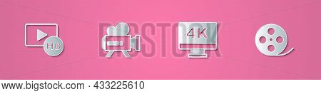 Set Paper Cut Hd Movie, Tape, Frame, Retro Cinema Camera, Screen Tv With 4k And Film Reel Icon. Pape