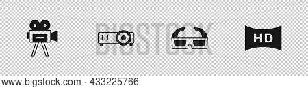 Set Retro Cinema Camera, Movie, Film, Media Projector, 3d Glasses And Hd Movie, Tape, Frame Icon. Ve