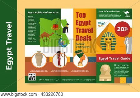 Egypt Travel Holiday Information Brochure Vector Flat Illustration. Touristic Vacation Trifold