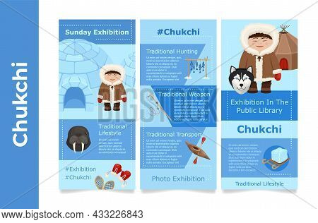 Exhibition Poster Of Wild North Arctic People In Traditional Eskimos Costume Set Vector Illustration