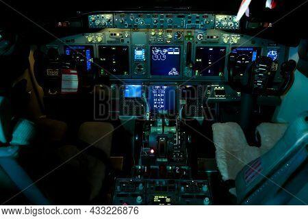 Ukraine, Kiev - December 29, 2020: Airplane Cockpit Aircraft - Ur-sqe. Boeing 737-75c. Plane Instrum
