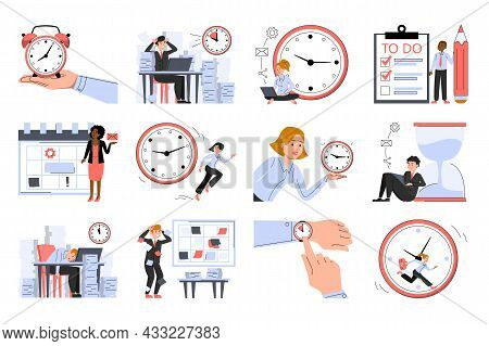 Time Management Set Vector Isolated. Concept Of Deadline, Planning And Business Strategy. Office Wor