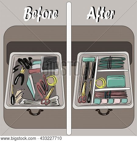 Organization Of Space, Basic Wardrobe. Before And After. Apartment Cleaning, Order, Things On The Sh