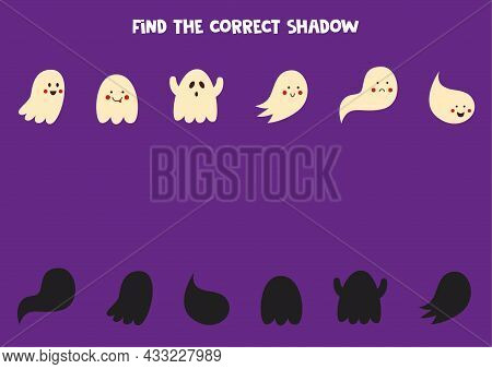 Find Shadows Of Cute Ghosts. Halloween Worksheet. Educational Logical Game For Kids.