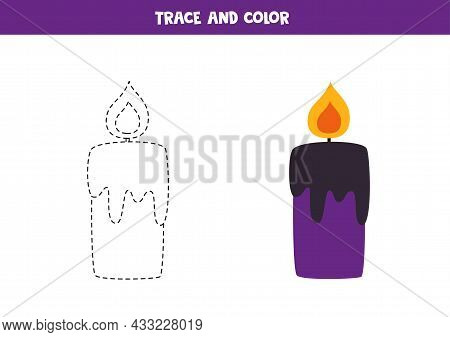 Trace And Color Cute Halloween Candle. Educational Game For Kids. Writing And Coloring Practice.