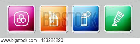 Set Line Rgb And Cmyk Color Mixing, Paint Bucket With Brush, Spray Can And Tube Paint Palette. Color