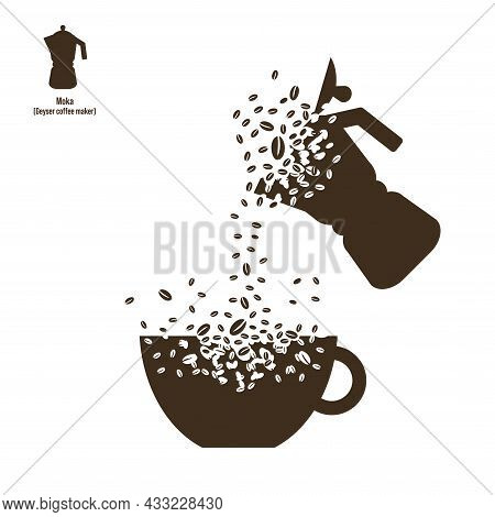 The Shape Of The Geyser Coffee Maker And The Cup Dissolve Into A Cloud Of Coffee Beans. The Coffee B