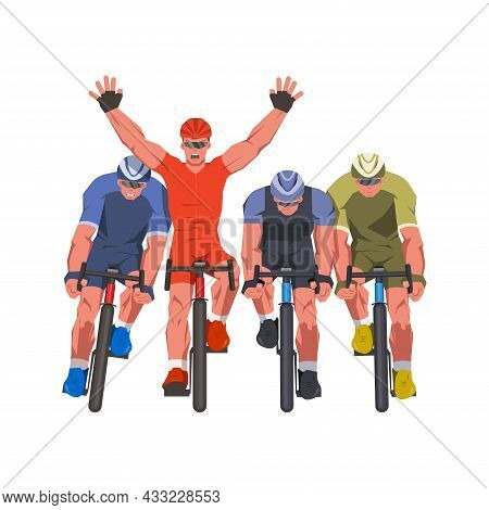 Men Bicycle Race. Cyclists At The Finish Line Are Fighting For The Victory. Final Sprint Front View.