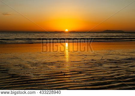 Sandy Beach And Evening Relaxation By Sea.intended Tranquil Spiritual Magical Atmosphere.feeling Fre
