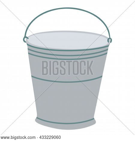 Garden Bucket. Tools And Inventory. Isolated Vector Element On White Background. Hand-drawn Illustra