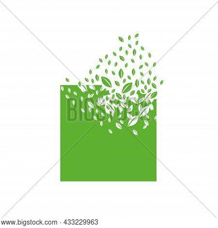 Square Shape Dissolves Into A Cloud Of Leaves. Effect Of Destruction. Dispersion.