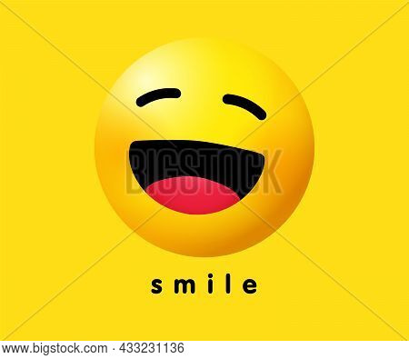 Smile Wink Icon Holiday Banner Design. Smiling Emoticon Vector Logo On Yellow Background. World Smil
