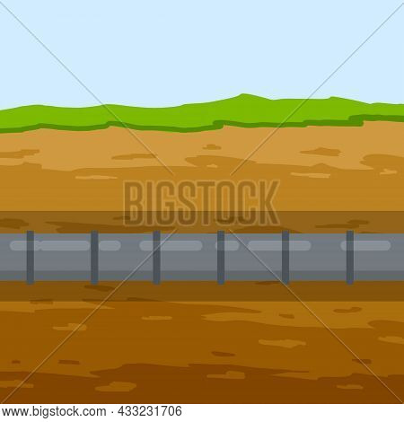 Underground Pipeline. Sewer And Water Supply Pipe. Sewage System. Oil Pipeline In Ground. Nature And
