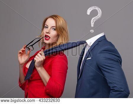 Sexy Young Nerd Woman Grab Unknown Rich Man By Necktie, Choosing The Right One, Question Mark