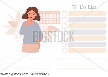 Girl And To-do List. Cute Pensive Girl On Decorative Background Looks At To-do List. Vector. Note Pa
