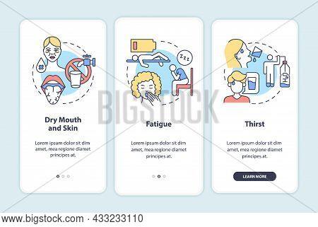 Dehydration Symptoms Onboarding Mobile App Page Screen. Signs Of Fluid Loss Walkthrough 3 Steps Grap