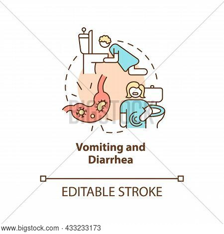 Vomiting And Diarrhea Concept Icon. Water And Mineral Loss. Stomach Flu. Dehydration Cause Abstract