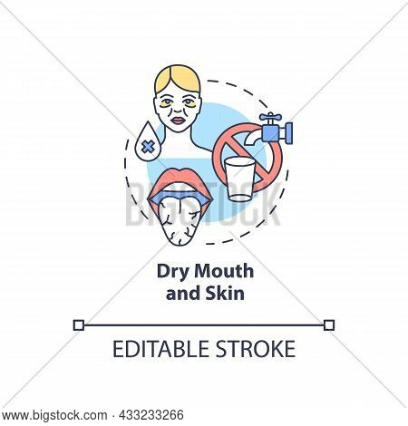 Dry Mouth And Skin Concept Icon. Dehydration Symptom. Saliva Deficiency. Body Fluid Loss Abstract Id