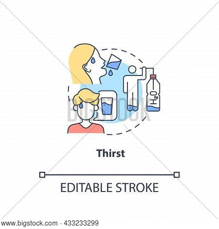 Thirst Concept Icon. Excessive Thirst Is Diabetes Sign. Fluid Balance In Body. Dehydration Sign Abst