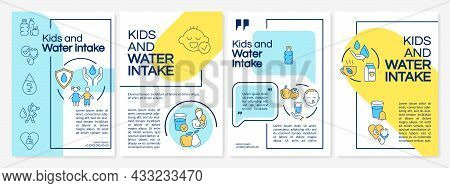 Kids And Water Intake Blue, Yellow Brochure Template. Flyer, Booklet, Leaflet Print, Cover Design Wi