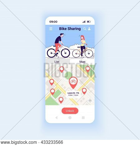 Bike Sharing App Smartphone Interface Vector Template. Mobile App Page Design Layout. Eco-friendly T
