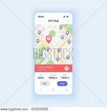 Wifi Map Smartphone Interface Vector Template. Mobile App Page Design Layout. Interner Acess Point A