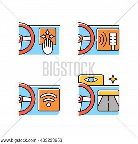 Advanced Car Technologies Rgb Color Icons Set. Gesture Control. Digital Voice Assistance. Built In W