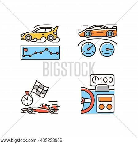 Automobiles Racing For Competition Rgb Color Icons Set. Rallying Event. Test Car Limits. Professiona