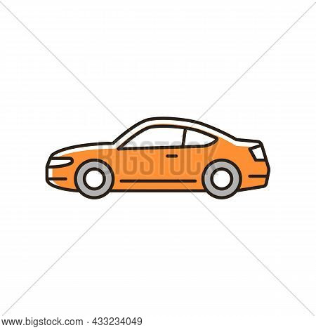 Coupe Car Rgb Color Icon. Two-door Sports Automobile. Performance-oriented Vehicle. Fixed Roof With