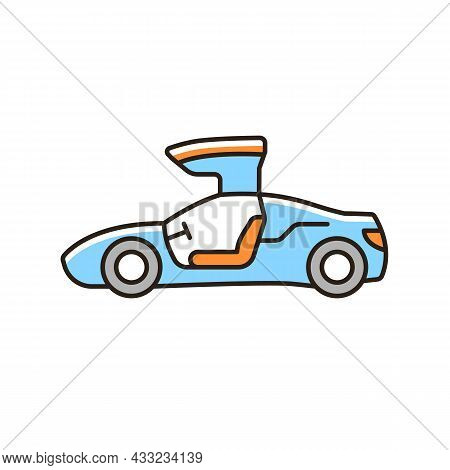 Gullwing-doored Vehicle Rgb Color Icon. Automobile With Falconwing Doors Opening Upward. Stylish Sol