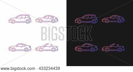 Practical Sports Cars Gradient Icons Set For Dark And Light Mode. Hatchback Model. Sports Sedan. Thi