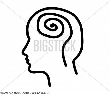 Silhouette Of A Human Head On A White Background. Inflate The Problem. Symbol. Vector Illustration.
