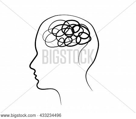 Human Brain And Confused Thoughts. Symbol. Vector Illustration.