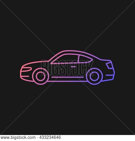 Coupe Car Gradient Vector Icon For Dark Theme. Two-door Sports Automobile. Performance-oriented Vehi