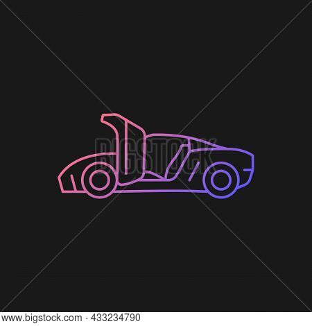 Car With Synchro Helix Doors Gradient Vector Icon For Dark Theme. Innovative Solution For Vehicle. H