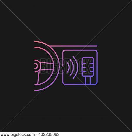 In-car Voice Control Gradient Vector Icon For Dark Theme. Digital Voice Assistant. Advanced Self-dri